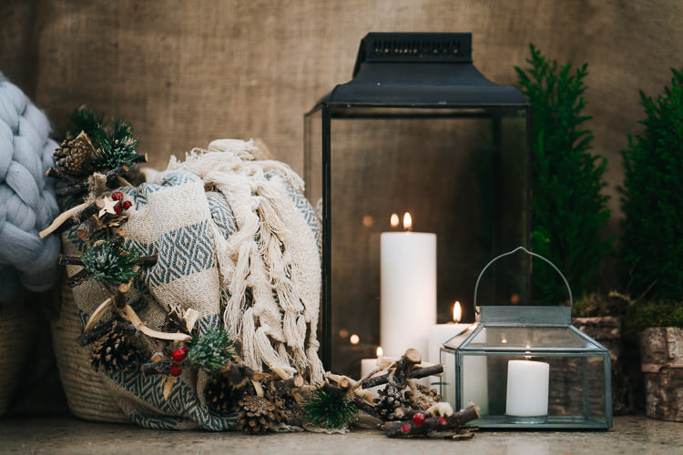 Candles Blankets Decor Red Green Winter Wonderland Wedding Ideas http://www.angelawardbrown.com/