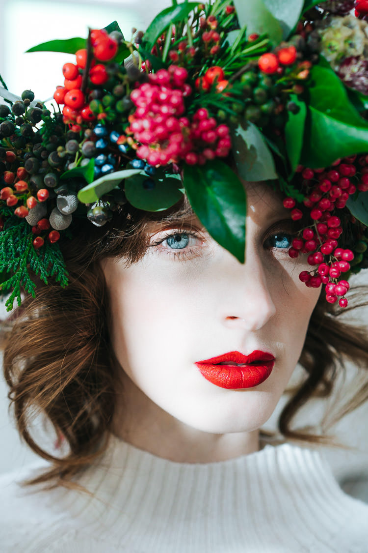 Make Up Bride Bridal Lips Red Green Winter Wonderland Wedding Ideas http://www.angelawardbrown.com/