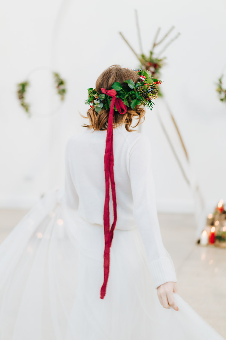 Flower Crown Ribbon Bride Bridal Headdress Red Green Winter Wonderland Wedding Ideas http://www.angelawardbrown.com/