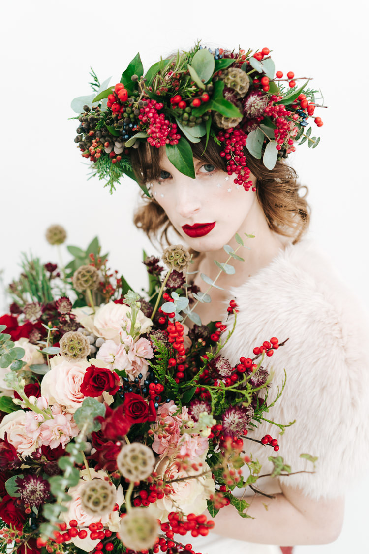 Flowers Greenery Folliage Rose Bouquet Bride Bridal Red Green Winter Wonderland Wedding Ideas http://www.angelawardbrown.com/