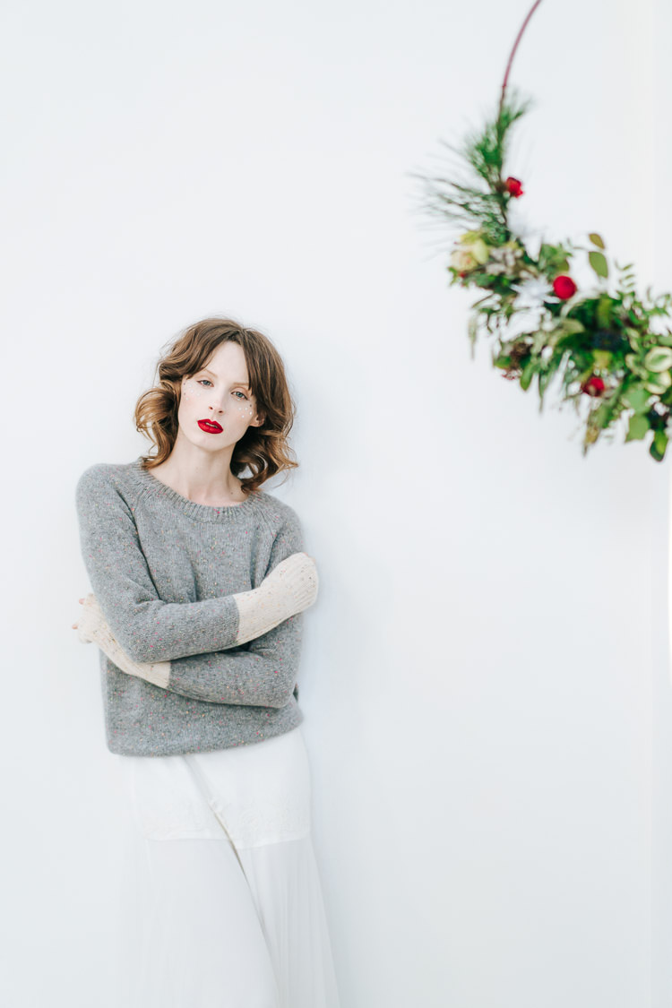 Knit Jumper Bride Bridal Red Green Winter Wonderland Wedding Ideas http://www.angelawardbrown.com/