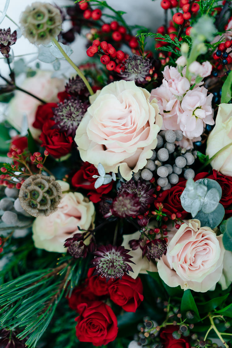 Flowers Greenery Folliage Rose Blush Pink Red Green Winter Wonderland Wedding Ideas http://www.angelawardbrown.com/