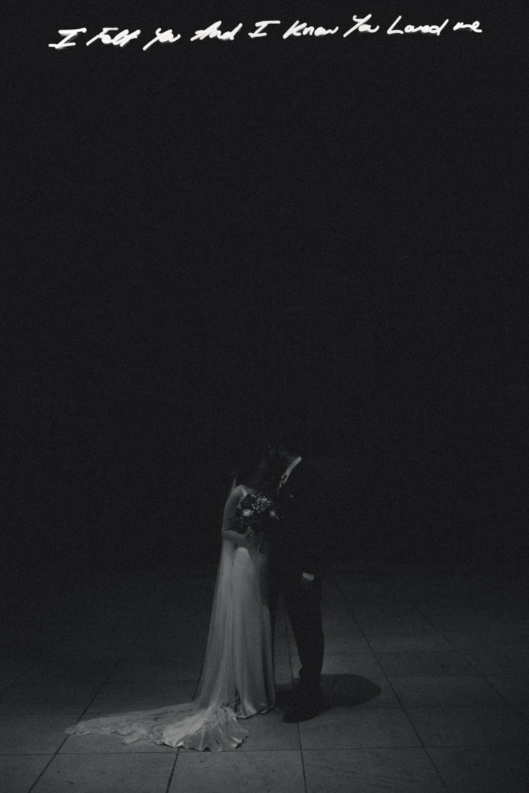 Bride Bridal Gown Dress Backless Silk Bias Veil Groom Paul Smith Tracey Emin Liverpool Cathedral Chapel Neon Playful Metallic Zoo Winter Wedding https://www.jennbrookesphotographer.com/