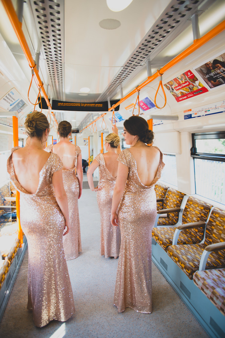 Bridesmaid Dresses Long Botanical Gold Sequin Music Hall Wedding http://sashaweddings.co.uk/