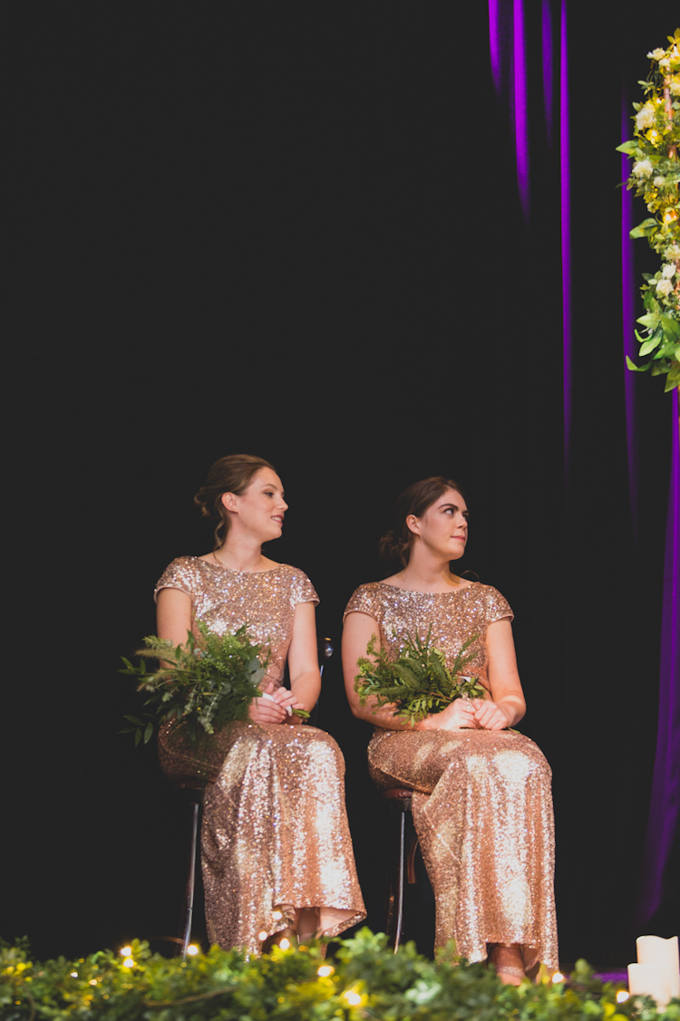 Bridesmaid Dresses Botanical Gold Sequin Music Hall Wedding http://sashaweddings.co.uk/