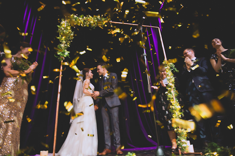 Confetti Botanical Gold Sequin Music Hall Wedding http://sashaweddings.co.uk/