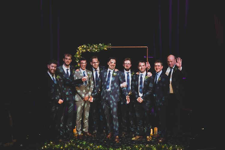 Mismatched Groomsmen Suits Botanical Gold Sequin Music Hall Wedding http://sashaweddings.co.uk/