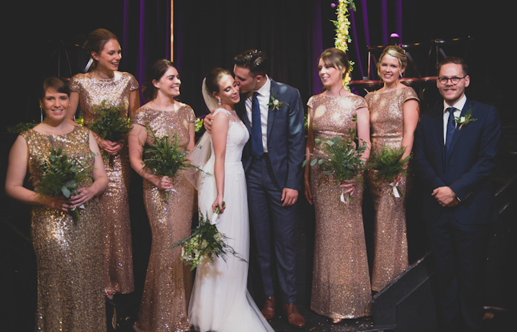 Botanical Gold Sequin Music Hall Wedding http://sashaweddings.co.uk/