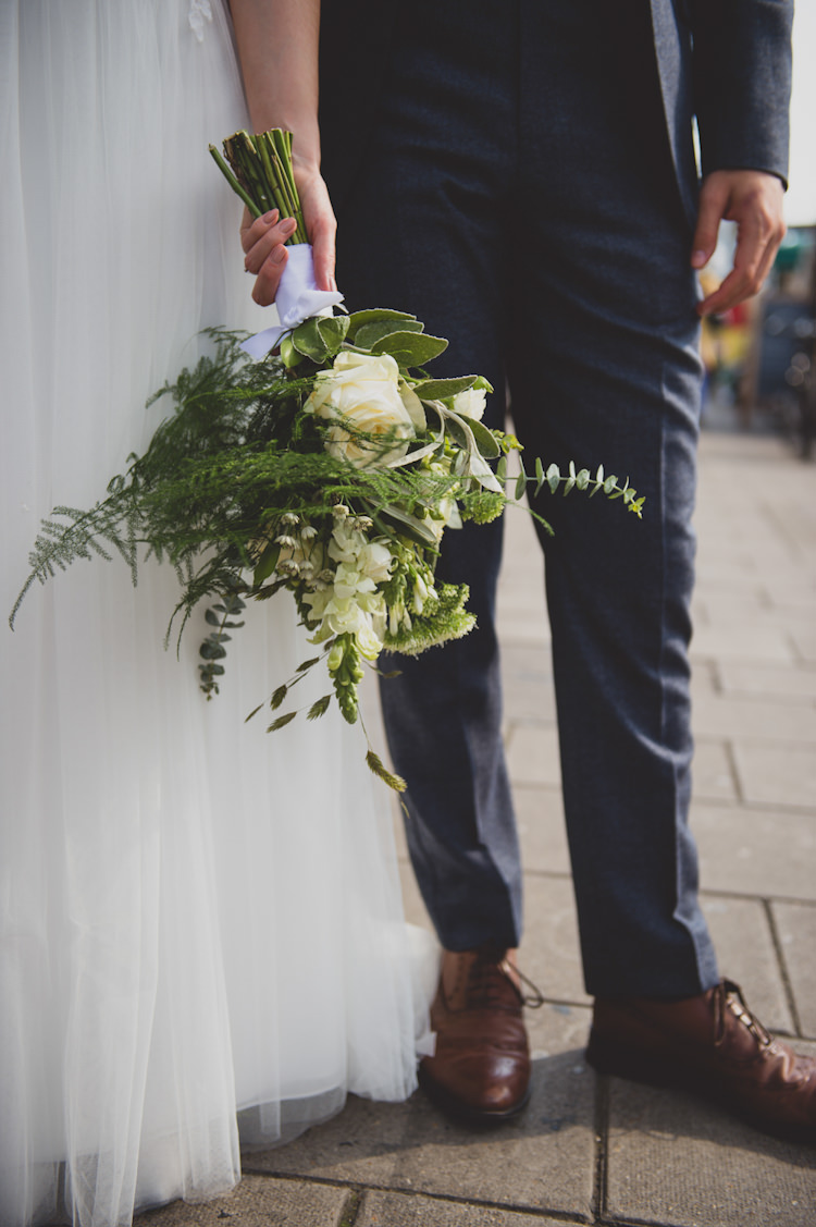Greenery Foliage Bouquet Flowers Bride Bridal Botanical Gold Sequin Music Hall Wedding http://sashaweddings.co.uk/