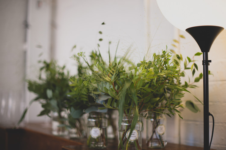 Jar Flowers Greenery Foliage Botanical Gold Sequin Music Hall Wedding http://sashaweddings.co.uk/