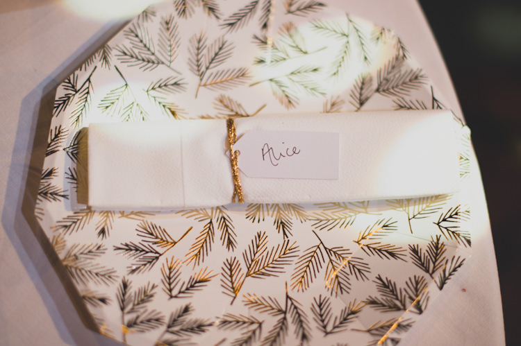Place Name Setting Luggage Tag Botanical Gold Sequin Music Hall Wedding http://sashaweddings.co.uk/