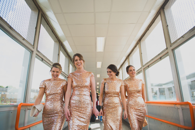 Bridesmaid Dress Botanical Gold Sequin Music Hall Wedding http://sashaweddings.co.uk/