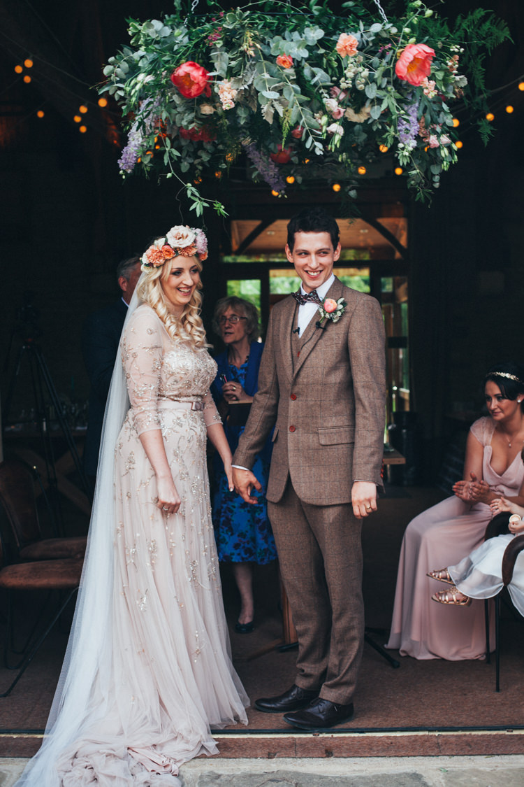 Hanging Flower Hoop Greenery Peony Chandelier Ceremony Backdrop Flowery Bohemian Secret Garden Wedding https://caseyavenue.co.uk/