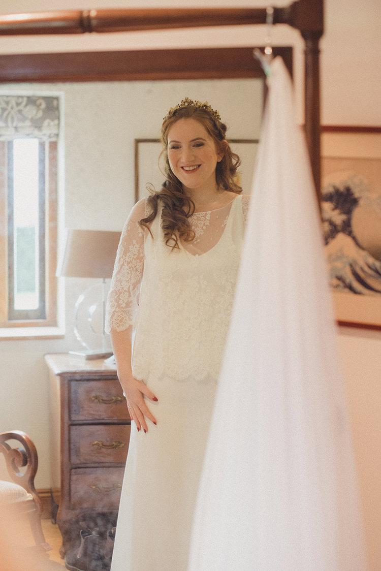 Delphine Manivet Lace Dress Gown Bride Bridal Joyful Warm Cosy Autumn Barn Wedding http://www.rebeccadouglas.co.uk/