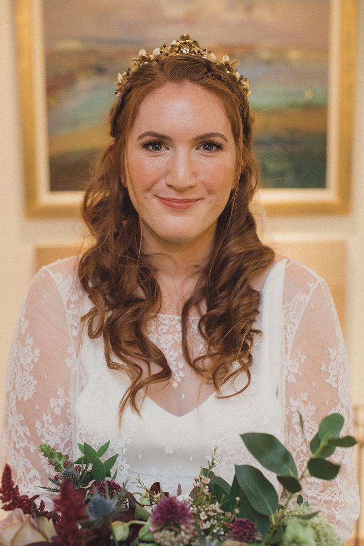 Long Hair Waves Tiara Crown Accessory Gold Bride Bridal Joyful Warm Cosy Autumn Barn Wedding http://www.rebeccadouglas.co.uk/