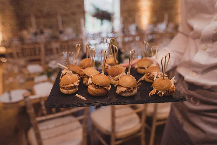 Canapes Joyful Warm Cosy Autumn Barn Wedding http://www.rebeccadouglas.co.uk/
