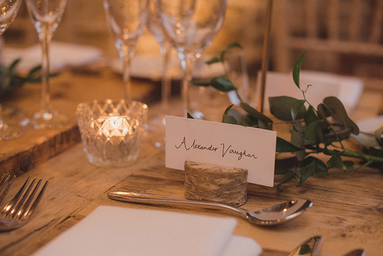 Calligraphy Log Place Name Cards Joyful Warm Cosy Autumn Barn Wedding http://www.rebeccadouglas.co.uk/