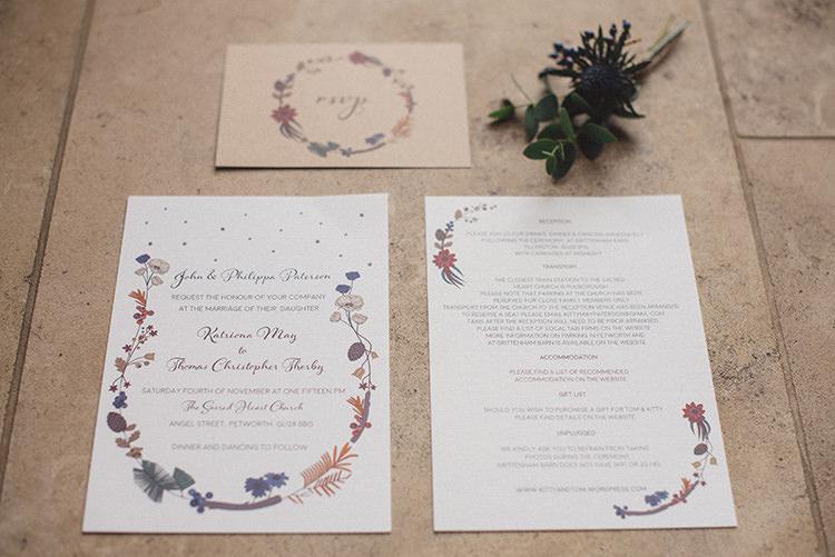 Floral Stationery Invites Invitations Joyful Warm Cosy Autumn Barn Wedding http://www.rebeccadouglas.co.uk/