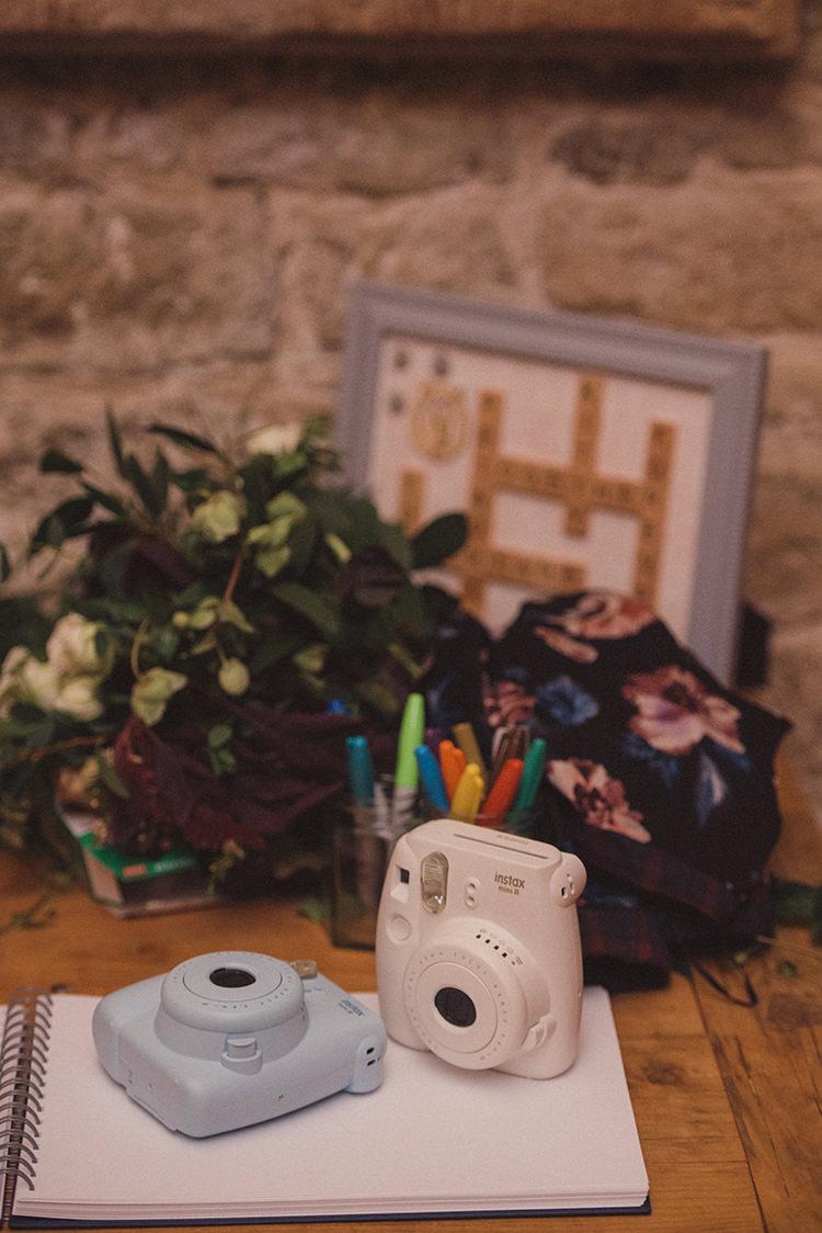 Polariod Instax Guest Book Joyful Warm Cosy Autumn Barn Wedding http://www.rebeccadouglas.co.uk/