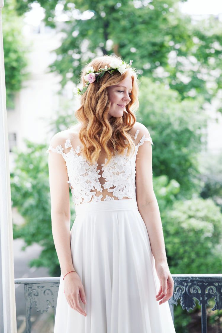 Illusion Lace Dress Gown Bride Bridal Mila Nova Flower Crown Relaxed Lavender Farm Marquee Wedding https://sashaleephotography.com/