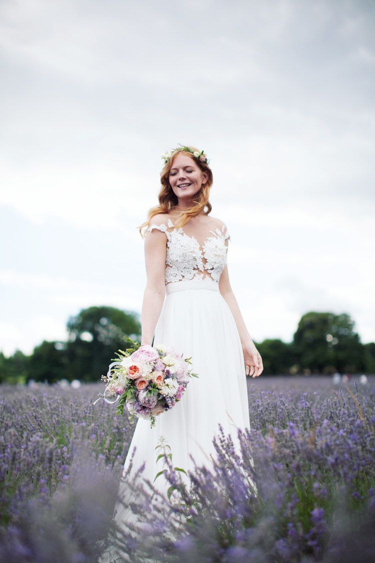 Illusion Lace Dress Gown Bride Bridal Mila Nova Relaxed Lavender Farm Marquee Wedding https://sashaleephotography.com/