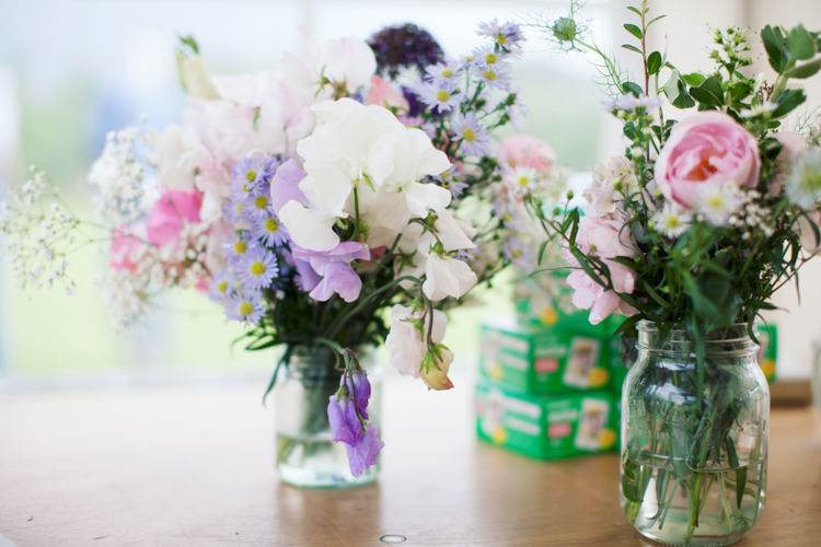 Flowers Jars Pastel Summer Relaxed Lavender Farm Marquee Wedding https://sashaleephotography.com/