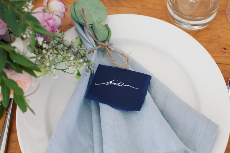 Calligraphy Place Name Card Linen Napkins Flowers Twine Relaxed Lavender Farm Marquee Wedding https://sashaleephotography.com/