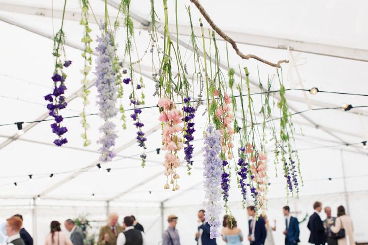 Hanging Flower Installation Relaxed Lavender Farm Marquee Wedding https://sashaleephotography.com/