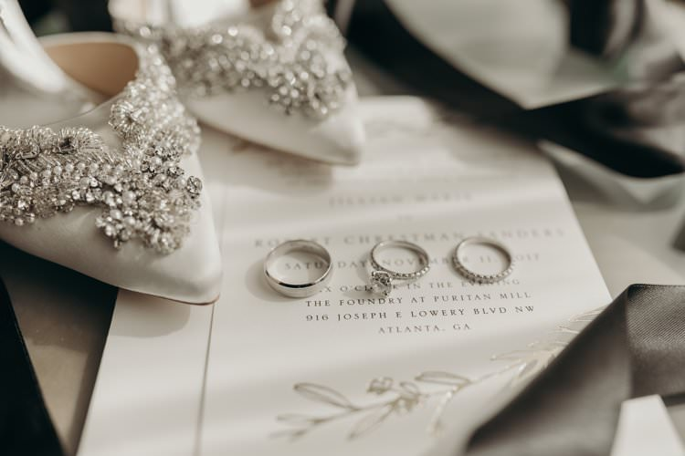 Modern Stylish Chic White Embellished Bridal Shoes Badgley Mischka Rings Stationery Invite | Urban Industrial Luxe Wedding http://hellencophotos.com/