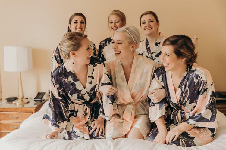 Bride Bridesmaids Satin Silk Robes Morning Ready Group Girls | Urban Industrial Luxe Wedding http://hellencophotos.com/