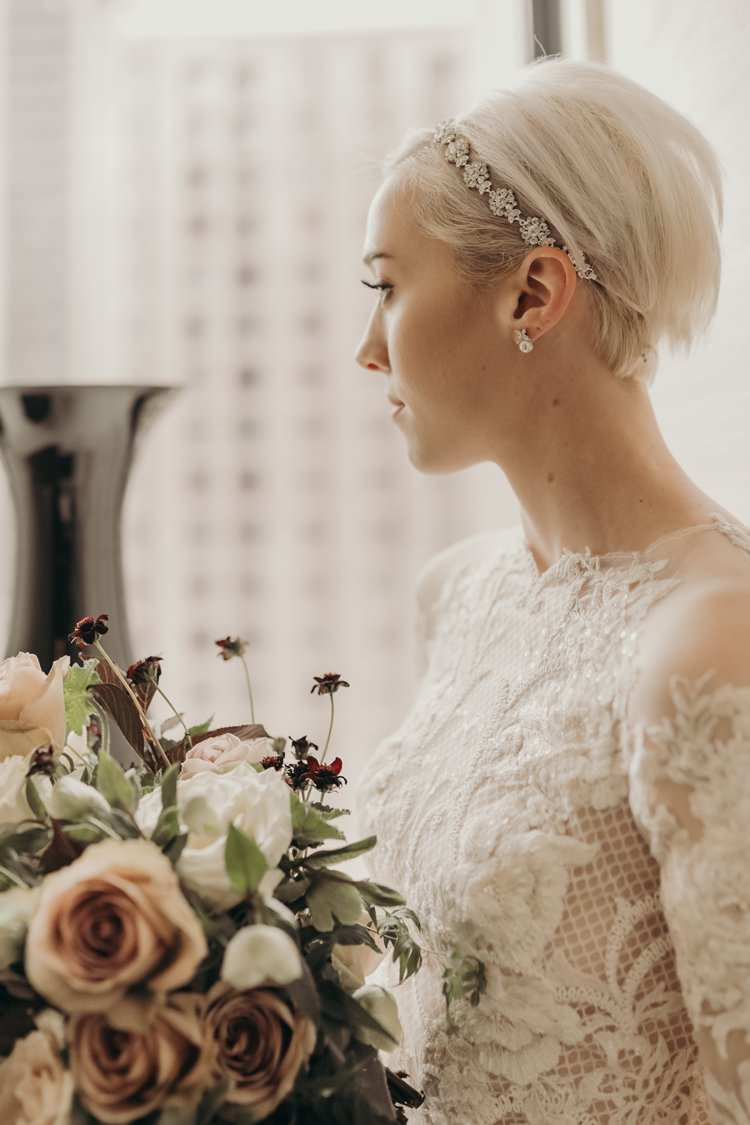 Modern Stylish Chic Bridalwear Train Wedding Dress Long Bell Sleeves Intricate Illusion Lace Short Hair | Urban Industrial Luxe Wedding http://hellencophotos.com/