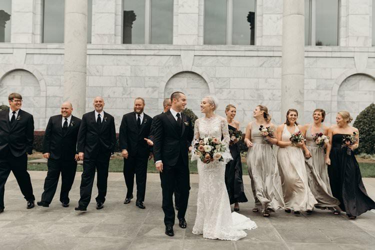 Bride Groom Groomsmen Bridesmaids Group Photo City Building Outdoors | Urban Industrial Luxe Wedding http://hellencophotos.com/