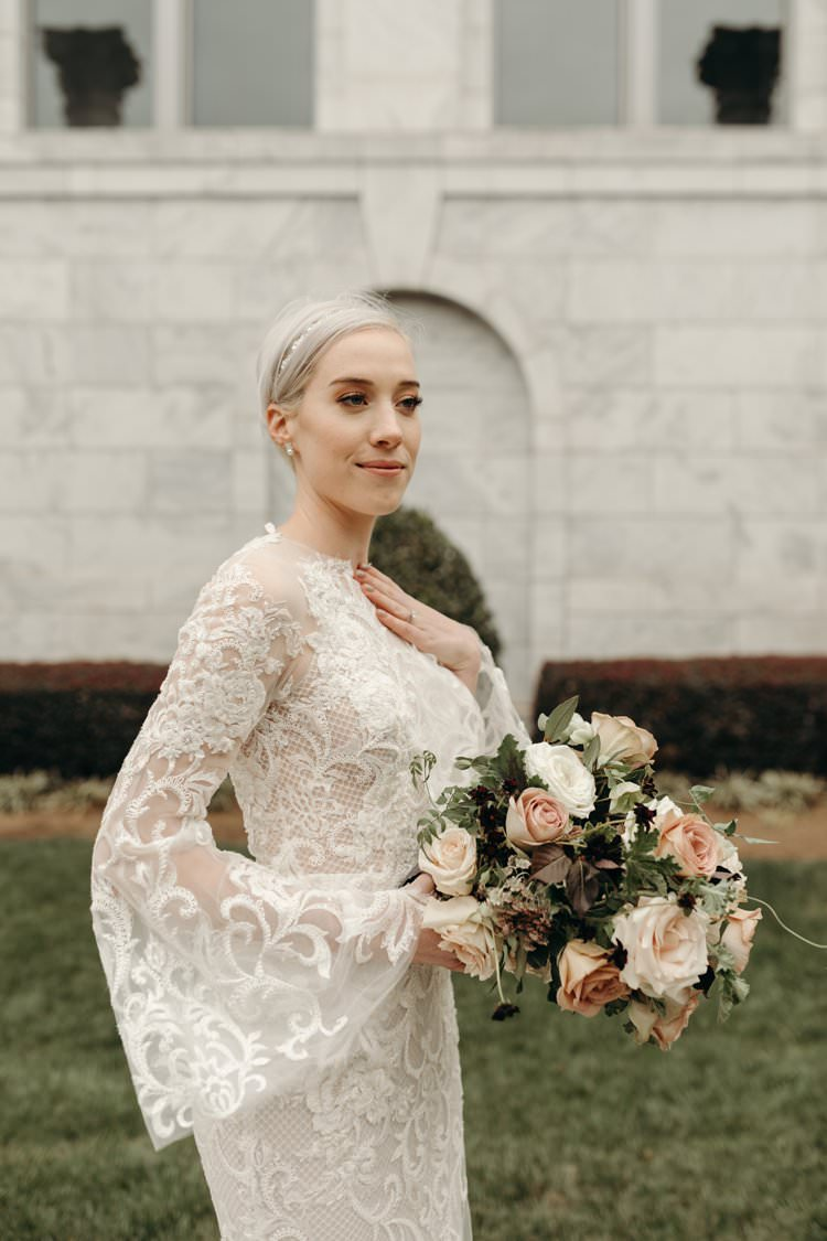 Modern Stylish Chic Bridalwear Train Wedding Dress Long Bell Sleeves Intricate Illusion Lace Short Hair Pink White Bouquet | Urban Industrial Luxe Wedding http://hellencophotos.com/