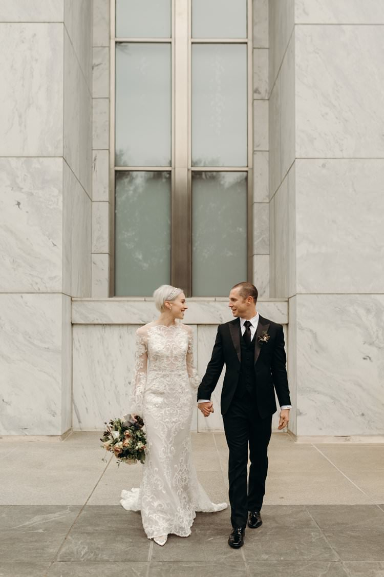 Modern Stylish Chic Bridalwear Wedding Dress Long Bell Sleeves Intricate Illusion Lace Short Hair Groom | Urban Industrial Luxe Wedding http://hellencophotos.com/