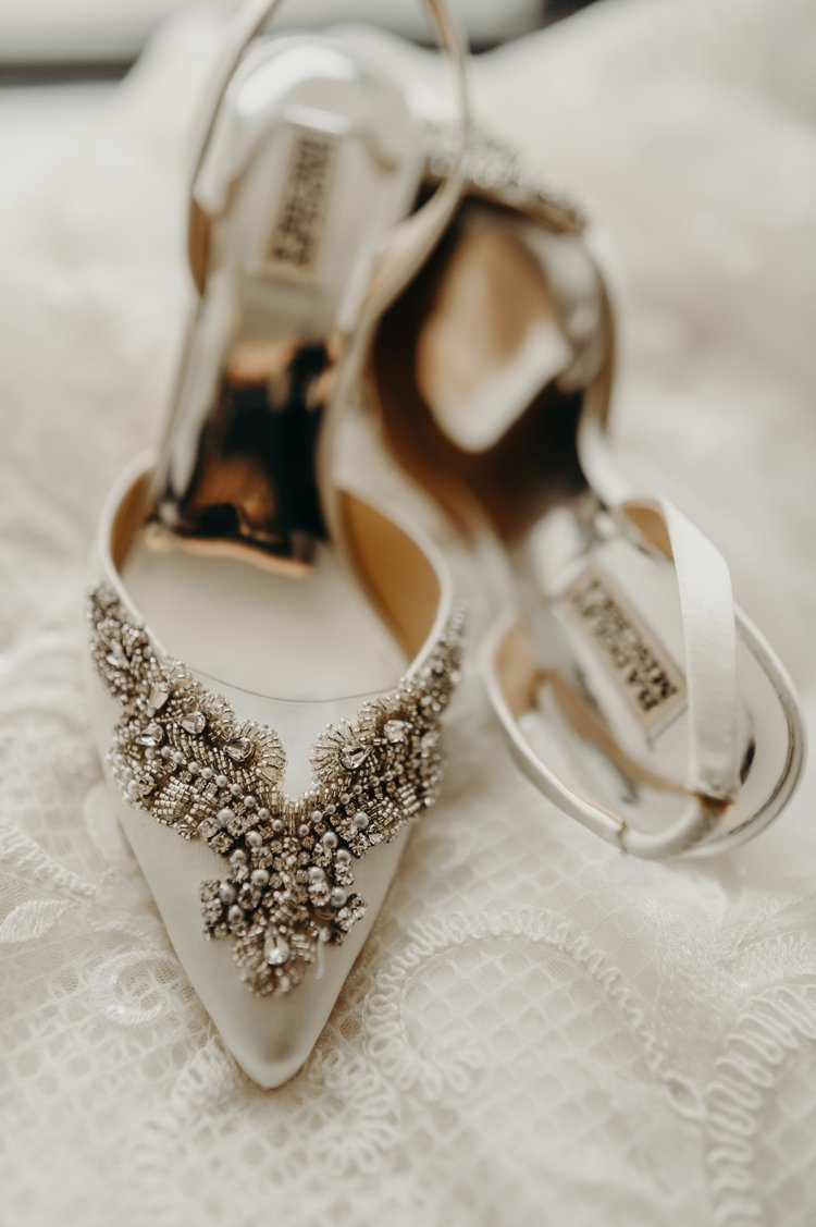 Modern Stylish Chic White Embellished Bridal Shoes Badgley Mischka | Urban Industrial Luxe Wedding http://hellencophotos.com/