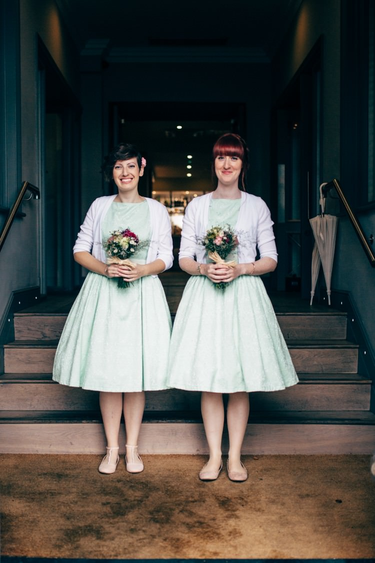 Bridesmaids Lindy Bop Mint Green 50s Tea Length Dress White Cardigan Retro Posy Bouquet Old Fashioned Fete Cricket Pavilion Wedding https://www.naomijanephotography.com/