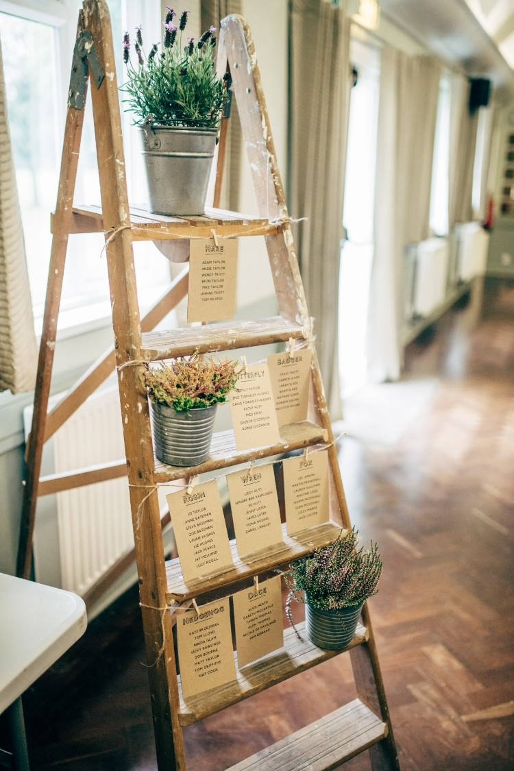 Vintage Step Ladder Table Plan Seating Chart Lavender Steel Bucket Old Fashioned Fete Cricket Pavilion Wedding https://www.naomijanephotography.com/