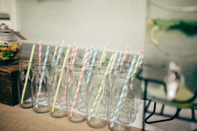 Milk Bottle Vintage Stripy Straws Pastel Old Fashioned Fete Cricket Pavilion Wedding https://www.naomijanephotography.com/