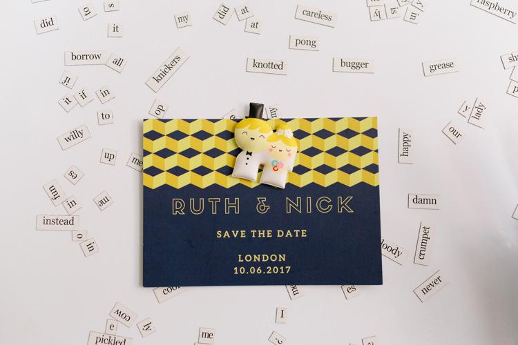 Save The Date Modern Simple Geometric Fun Magnetic Words Badge | Modern Tropical Gold Urban Wedding https://www.christinewehrmeier.com/