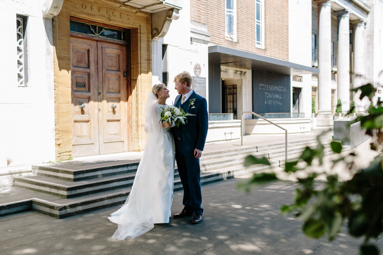 Sunny North London Stoke Newington Town Hall Bride Groom Outdoor Photographs | Modern Tropical Gold Urban Wedding https://www.christinewehrmeier.com/