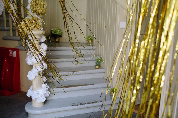 London The Tab Centre Shoreditch White Paper Pompom Gold Curtain Decor | Modern Tropical Gold Urban Wedding https://www.christinewehrmeier.com/