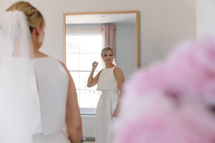 Bride Make-up Simple Natural Morning Preparation Blonde Updo Jesus Peiro Dress | Modern Tropical Gold Urban Wedding https://www.christinewehrmeier.com/