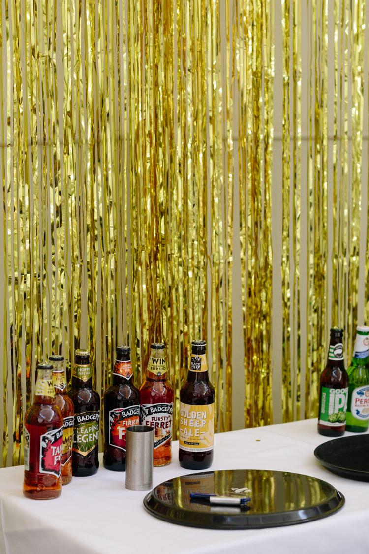 Ale Beer Bar Drinks Table Gold Curtain Decor London Urban The Tab Centre Shoreditch | Modern Tropical Gold Urban Wedding https://www.christinewehrmeier.com/