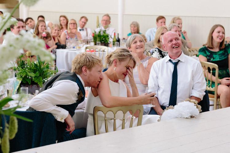 Bride Groom Speeches Stage Emotional | Modern Tropical Gold Urban Wedding https://www.christinewehrmeier.com/