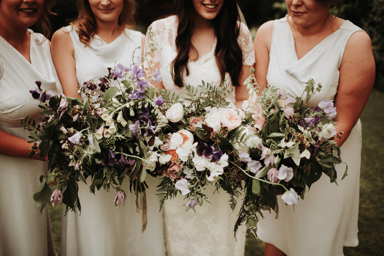 Bridesmaids Flowers Bouquets Dresses Wild Natural Silvery Grey Nature Wedding https://jonathanellisblog.com/