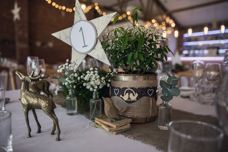 Table Centrepiece Decor Hessian Tin Can Plants Flowers Star Heartfelt Celestial Handmade Wedding http://assassynation.co.uk/