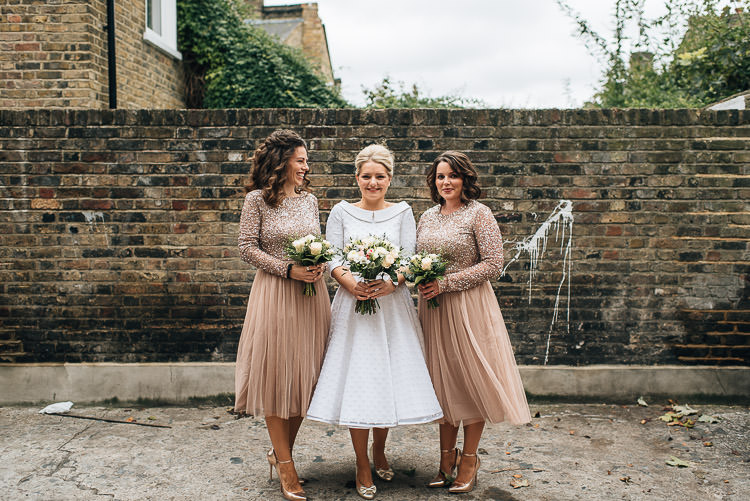 Bride Bridal Candy Anthony Polka Dot Peter Pan Collar Tea Length ASOS Bridesmaids Sparkly Sequin Long Sleeve Tulle Dress Bouquet Chic Relaxed London Pub Wedding https://theshannons.photography/