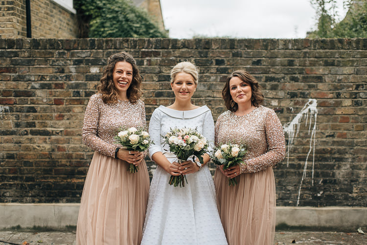Bride Bridal Candy Anthony Polka Dot Peter Pan Collar Tea Length ASOS Bridesmaids Sparkly Sequin Long Sleeve Tulle Dress Bouquet Buff Chic Relaxed London Pub Wedding https://theshannons.photography/