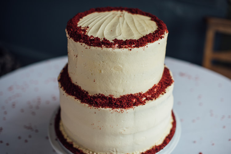 Red Velvet Buttercream Tiered Cake Chic Relaxed London Pub Wedding https://theshannons.photography/