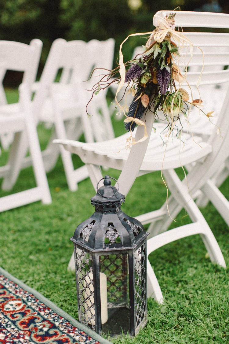 Chair Flowers Pew End Aisle Lanterns Candles Retro 70s Bohemian Summer Dream Wedding http://whitecatstudio.ie/